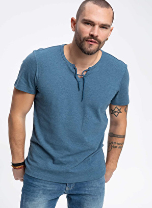 DeFacto Çizgili Bağlama Detaylı Yakalı Slim Fit Kısa Kollu T-shirt